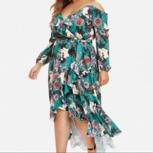 Paris Floral Wrap Dress